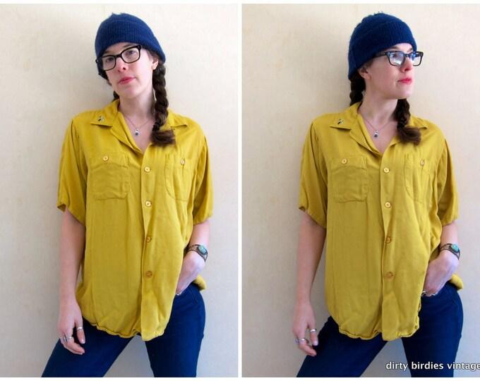 50s BOWLING Shirt | Mustard Yellow Loop Collar Shirt Short Sleeve Button Up TShirt Embroidered Shirt Retro Mid Century Top Mens Medium Large