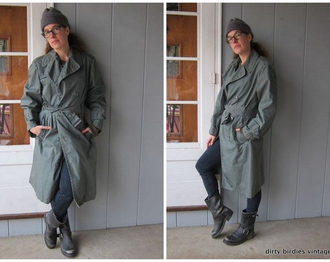 Vintage 80s Army Trench Coat Drab Green Double Breasted Rain Jacket Vintage Raincoat Peacoat Long Belted Trench Jacket Mens 36 S