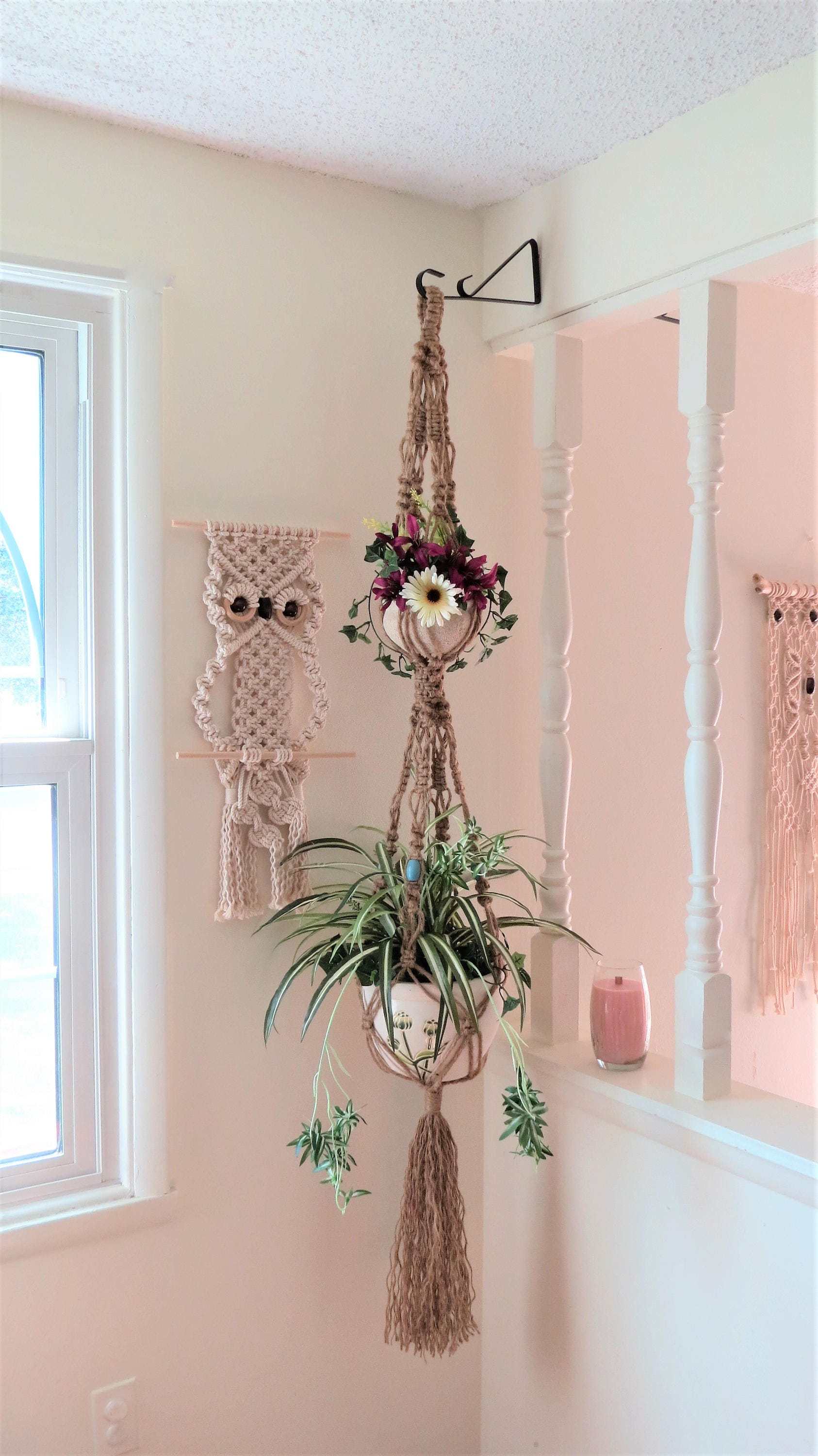 Hippie Home Decor Hippie Decor Macrame Jute Plant Hanger