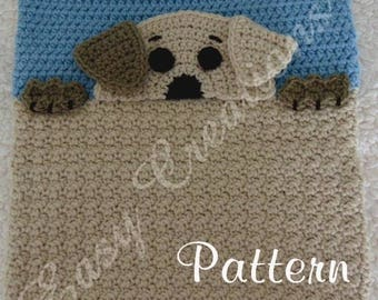 PDF CROCHET PATTERN Peek-a-Puppy, Puppy Pajama Pillow, boy Pj bag, girl Pj pillow, animal Pj pillow, child pet Pj bag, bed Pj bag