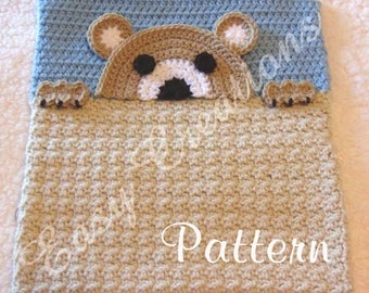 PDF CROCHET PATTERN Peek-a-Teddy Bear, Teddy Bear Pajama Pillow, boy Pj bag, girl Pj pillow, animal Pj bag, child Pj pillow, bed Pj pillow