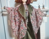 "Lounging PJs in Chiffon and Green Silk Charmeuse c.1930 Fits 16"" Fashion Dolls"