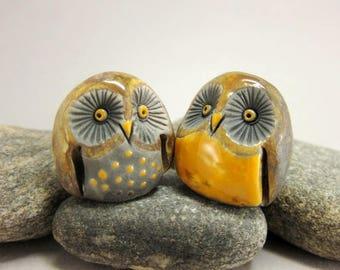 Owl Couple...Collectible Raku Figurines...Brown & Yellow