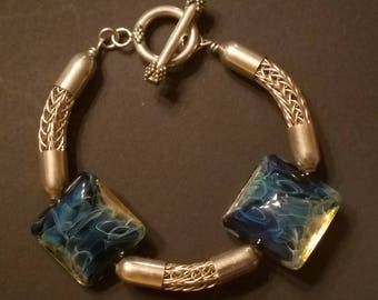 AJs Sterling Silver Viking Knit & Silver Glass Lampwork Handmade Bracelet