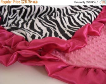 SALE Fuschia and Zebra Minky Blanket  for Baby, Toddler, or Adult Can Be Personalized