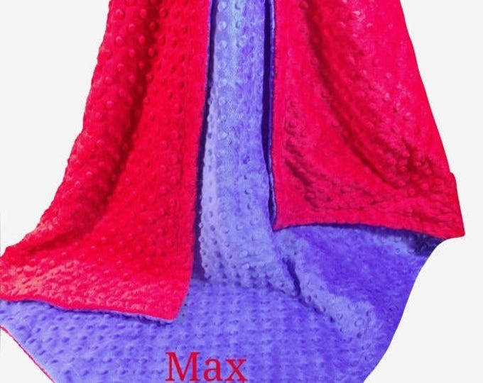 SALE Boy's Red and Royal Blue Minky Dot Baby Blanket, Deep Royal Blue and Red Minky Dot Blanket, , in three sizesCan Be Personalized