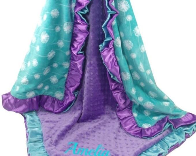 SALE Purple and Teal Dandelion Print Minky Baby Blanket, Double Ruffle, Custom Double Ruffle Blanket, choose your colors, three sizes