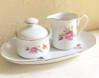Vintage JL Menau Cream and Sugar and Platter Serving Set Tea Party