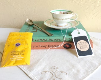 Tea Childrens Book Lover Gift Box Matching Demitasse Tea Cup and Saucer 2 Vintage Books Tea Bags Bookmark Silver Spoon Vintage Cloth Napkin