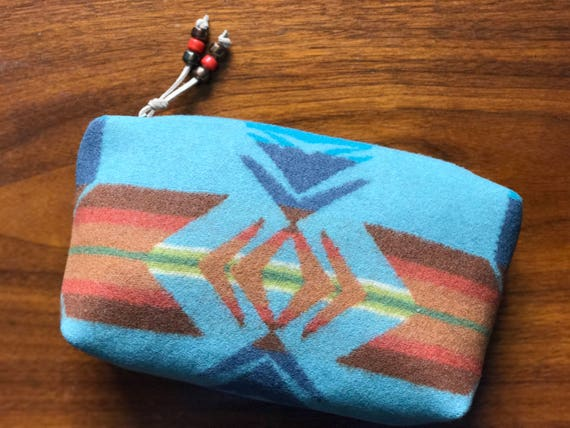 Cosmetic Bag / Makeup Bag / Zippered Pouch Large Wool Turquoise & Orange