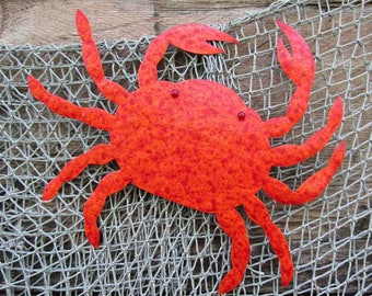 Metal Wall Art Crab Sculpture Sea Life beach House Coastal Decor  Indoor Outdoor Bathroom Art Red Orange 11 x 13