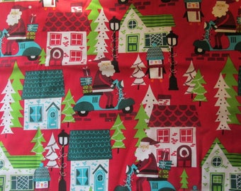 Retro Christmas Fabric Santa Scooter Whimsical Houses Fabric Joann Fabric Santa Claus Fabric Holiday Fabric Penguin Fabric BTY