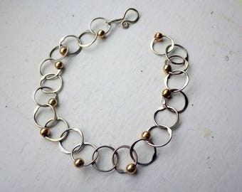 Link Sterling Bracelet - Gold Ball Accents - Charm Style - Vintage.
