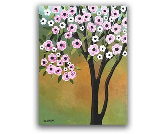 Cherry Blossom Tree Painting, Pink Flower Landscape Wall Decor Canvas Art, Mothers Day Gift