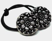 Glass Ponytail Holder made from Vintage Buttons, Black with Silver Highlights, Flower Motif, Le Chic Black Glass Buttons, Hair Accessories