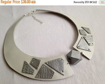 """40% OFF SALE White and silver leather bib necklace Leather jewelry Statement necklace  """"Geometry of Metamorphose"""" collection"""