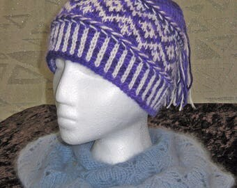 Purple and White Wool Blend Tasseled Hat