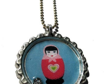 * SALES necklace * Capsule with Swarovski Russian doll