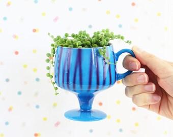 Mid Century Modern Pedestal Mug / Mid Century Coffee Mug / Cobalt and Aqua Ceramic Mug from Japan / Mid Century Mug / Vintage Blue Mug
