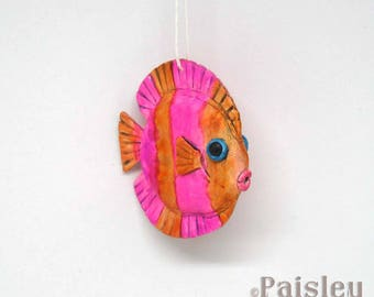 Pink Orange Tang Fish Ornament, painted polymer clay fish decoration