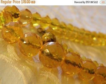 christmasinjuly honey colored crystal bead necklace