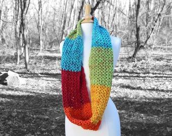 Rainbow knit scarf, Crochet infinity scarf, Knit scarf for her, Crochet cowl scarf, Circle scarf, Womens scarf, mothers day