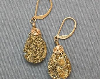 Wire Wrapped Gold Druzy Earrings