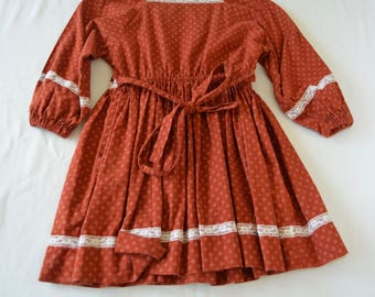 Vintage GIRL'S DRESS little house on the prairie style homemade