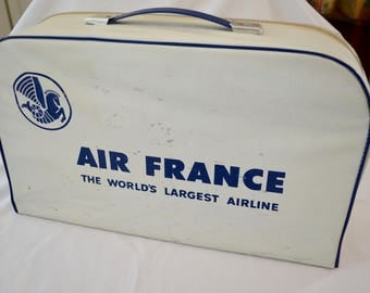 Vintage AIR FRANCE carry on bag 1960's or 70's small bag suitcase