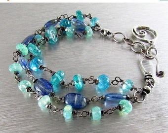 25 OFF Three Strand Wire Wrapped Bracelet With Kyanite, green Moonstone And Apatite