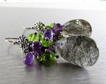 25 OFF Rutilated Quartz With Amethyst and Peridot Oxidized Sterling Silver Cluster Earrings