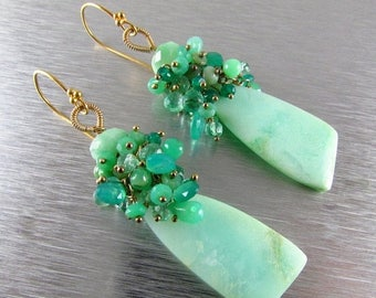25 OFF Chrysoprase Cluster Gold Filled Earrings