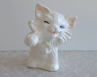 kitten figurine, ceramic kitten sculpture, vintage cat figurine, vintage ceramic cat, happy cat, persian cat, pet cat, fluffy kitty cat