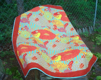 Red, Blue, Orange and Yellow Funky Fish Lap Quilt Baby Quilt