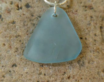 18 inch sterling silver snake chain with a simple aqua sea glass pendant