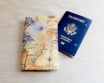Passport Wallet, Fabric Passport Cover, Antique Map Fabric Passport Cover, Passport Folder, Travel Gift, Grad Gift, Fabric Passport Wallet