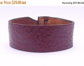 On Sale Leather Cuff by Muse in Dark Brown Rhino color, Bracelet, Nickle-Free