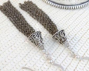 FLASH SALE Artisan Sterling Silver Tassel Earrings Long Chain Tassel Earrings Oxidized Silver Tassel Jewelry Bohemian Handmade Earrings