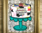 Baking, cake, mixed media collage framed art by Things With Wings