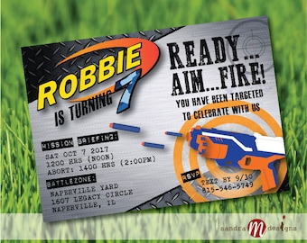 Nerf Birthday Inspired Invitation Digital File