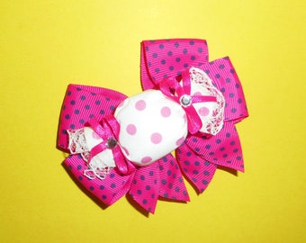 Pink and Navy Dot Candy Bow Barrette