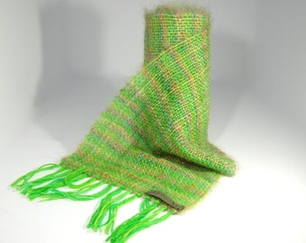 Hand Woven Kid Mohair & Wool Scarf in greens and pinks
