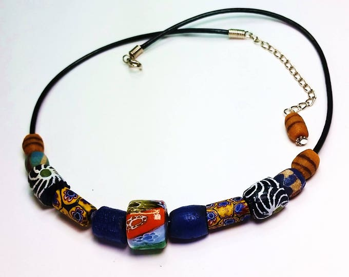Trade Beads on Leather Cord Adjustable Necklace Number 6