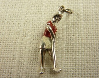 Vintage Sterling Painted Lady Golfer Charm