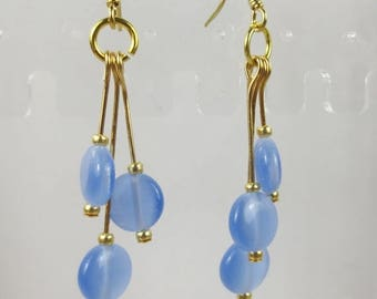 70% SALE Blue Cats Eye round beads in dangle earrings, cats eye beads, gold earrings, holiday earrings