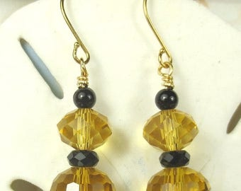 70% SALE Crystal in Amber yellow color with black hematite earrings, holiday earrings, Thanksgiving earrings