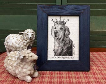 Golden Retriever in French Crown, French Country Decor, Farmhouse Decor, Distressed Shabby Chic Frame, Golden Retriever Printed on Linen