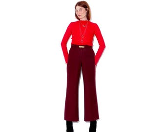 luxurious soft wool OXBLOOD trousers w matching belt / oxblood dark berry high waisted trousers wool trousers wool pants high waisted pants