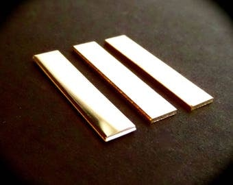 """3 BLANKS 3/8"""" x 1-1/2"""" Sterling 18 Gauge Polished Rectangles Made in USA"""