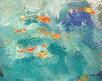 Sea world underwater Abstract expressionist painting original acrylic ocean art by Russ Potak